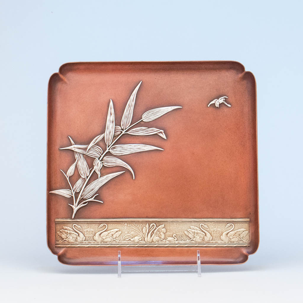 Gorham Antique Mixed Metal Square Tray, Providence, RI, 1882