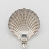 Bowl front on Tiffany & Co. 'Strawberry' Pattern Antique Sterling Silver Scallop Shell Bowl Serving Spoon, c. 1900