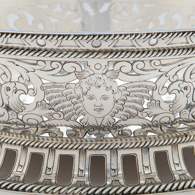 Putti mask on Gorham Antique Sterling Silver Centerpiece Bowl with Liner, Providence, RI, 1913