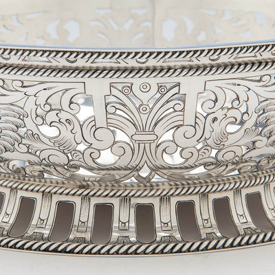 Decoration detail on Gorham Antique Sterling Silver Centerpiece Bowl with Liner, Providence, RI, 1913