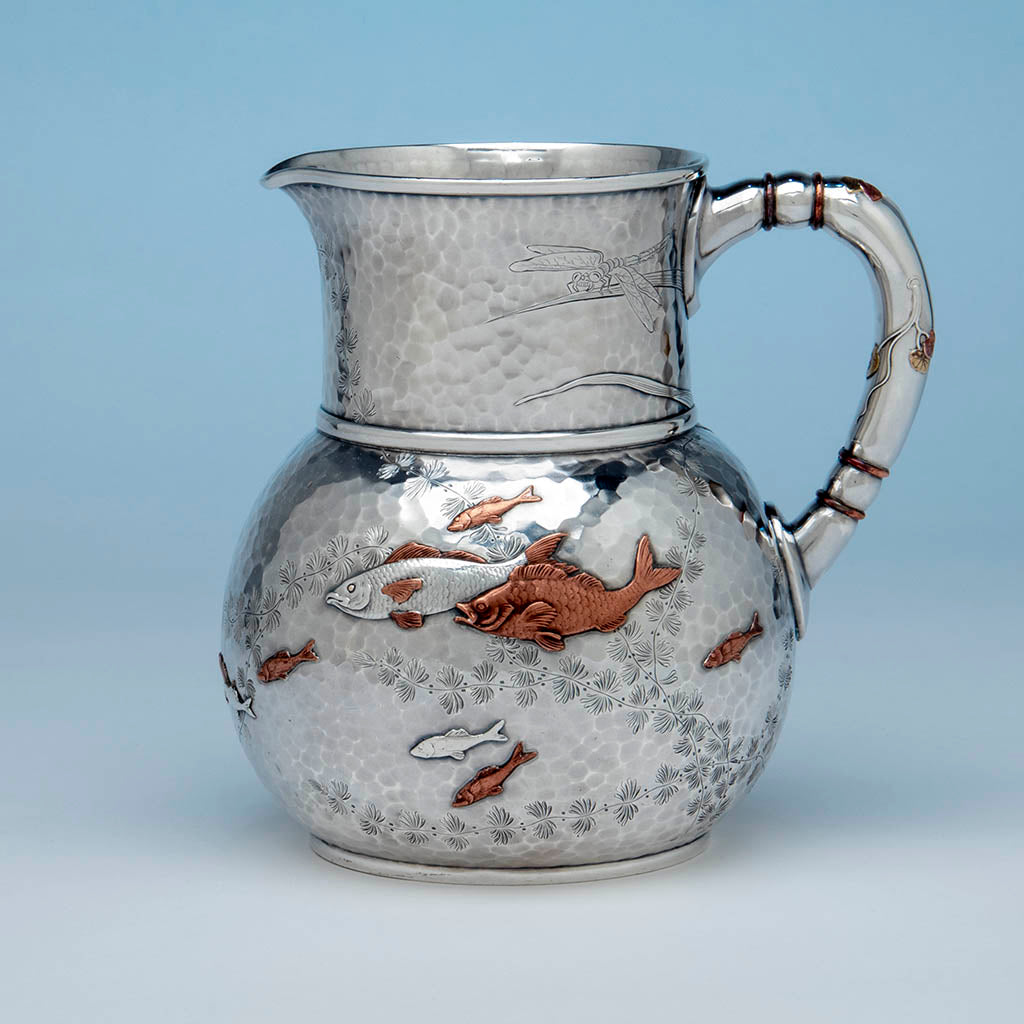 Tiffany & Co Antique Sterling Silver Aesthetic Movement Mixed Metal Water Pitcher in the Japanese Taste, c. 1878