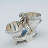 Top view of Gorham Antique Sterling Silver Figural Dessert Cream & Sugar Stand, Providence, RI, 1870