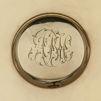 Monogram on Tiffany & Co. Antique Sterling Silver Centerpiece Bowl with Moth Handles, New York City, NY, c. 1874