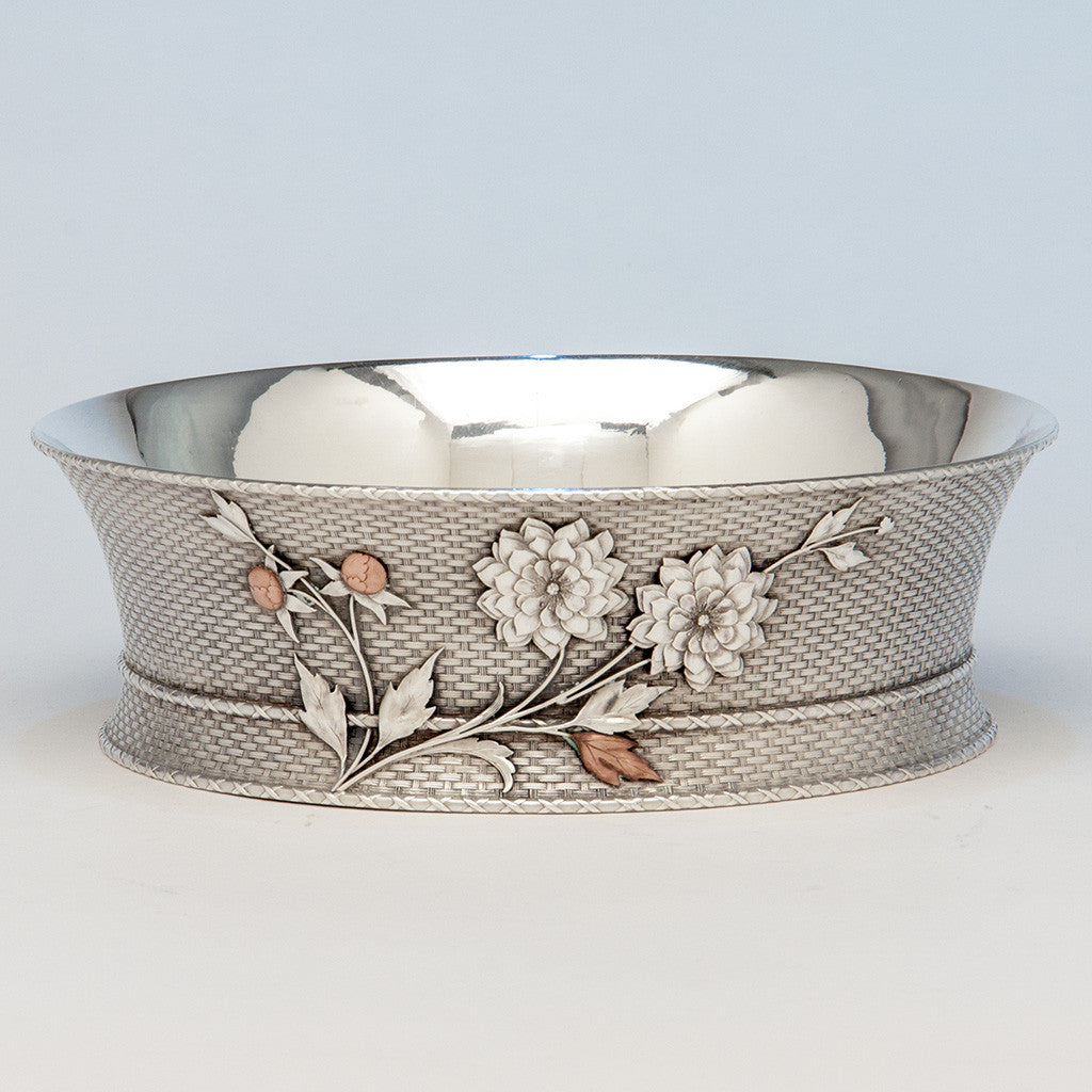 Whiting Antique Sterling Silver Aesthetic Movement Mixed Metals Bowl, New York City or North Attleboro, MA, c. 1875