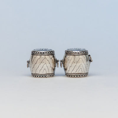 Pair of Japanese Sterling Silver Taiko Drum Salt and Pepper Shakers, mid 20th century