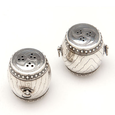 View from above of Pair of Japanese Sterling Silver Taiko Drum Salt and Pepper Shakers, mid 20th century