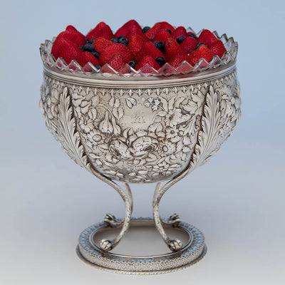 Strawberry Shortcake in the S. Kirk & Son Rare  11oz Silver Fruit Stand or Centerpiece Bowl, Baltimore, MD, c. 1880