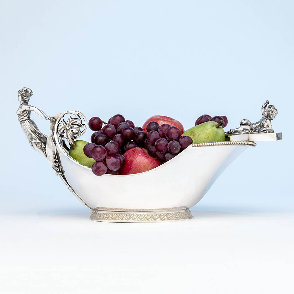 Wood & Hughes Antique Sterling Silver Figural Centerpiece Bowl, New York City, c. 1870