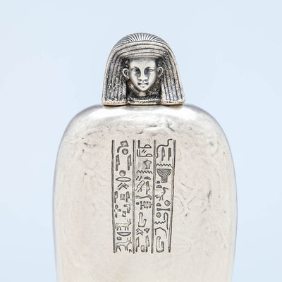 Detail of Gorham Antique Sterling Silver 'Liquor Flask' in the form of a Canopic Jar, Providence, RI, 1884
