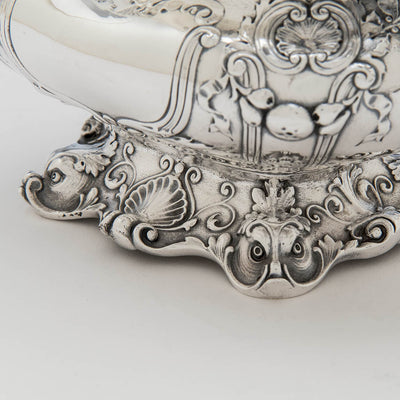 Dolphins on foot of Gorham Special Order Antique Sterling Silver Sauce Boat with Stand, Providence, RI, 1910