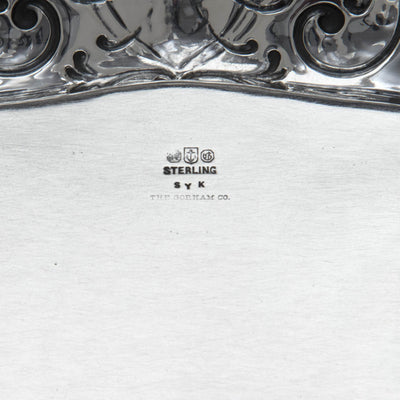 Marks on the under tray of the Gorham Special Order Antique Sterling Silver Sauce Boat with Stand, Providence, RI, 1910