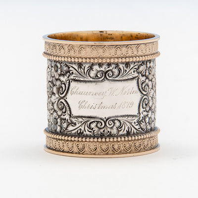 Wood & Hughes Chased Antique Sterling Silver Napkin Ring, New York City, 1879
