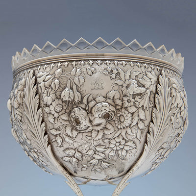 Crest on S. Kirk & Son Rare  11oz Silver Fruit Stand or Centerpiece Bowl, Baltimore, MD, c. 1880