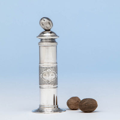 American Antique Sterling Silver Nutmeg Grater, likely by John Wendt, NYC, c. 1874