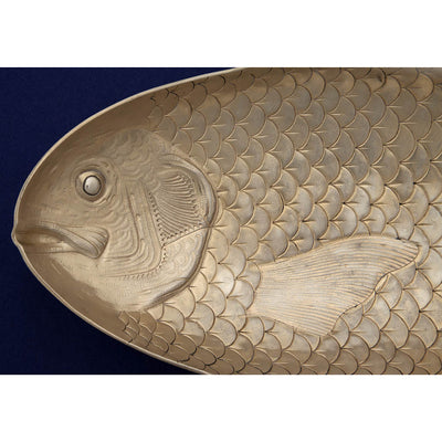 Head detail of the Gorham Antique Sterling Silver Figural Fish Serving Platter, Providence, RI, 1884