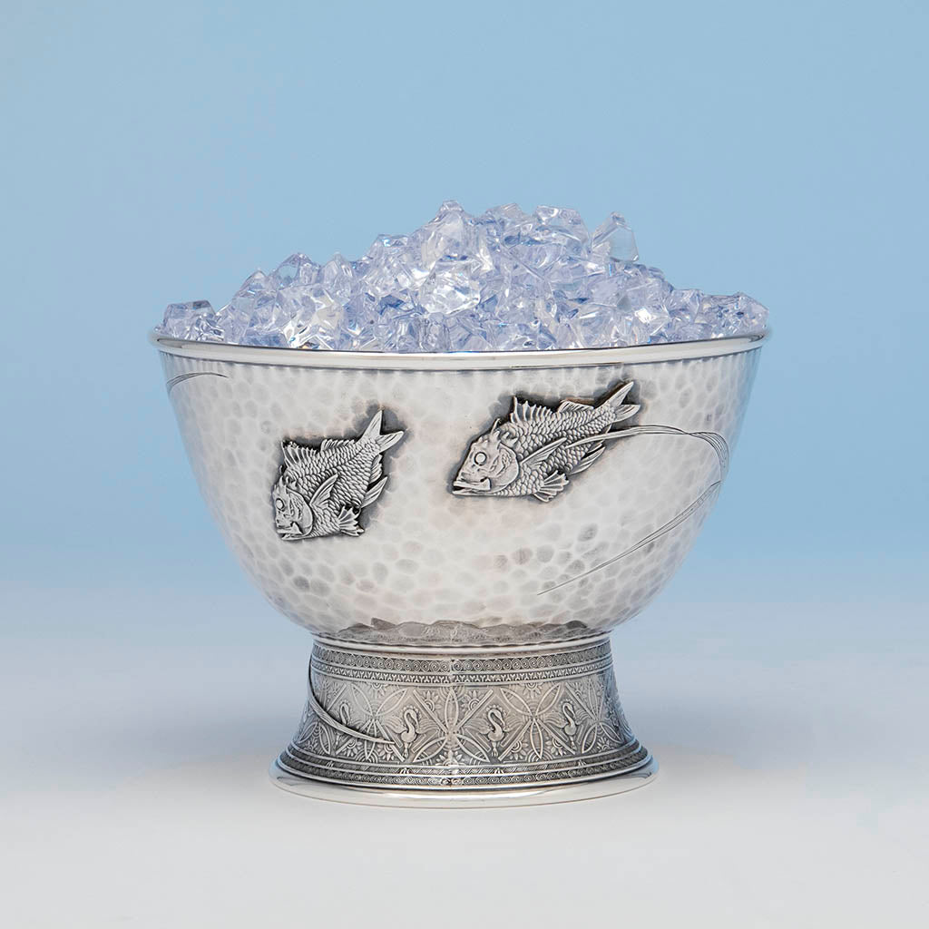 Ice filled Tiffany & Co Antique Sterling Silver Japanesque Ice Bowl, New York City, c. 1877