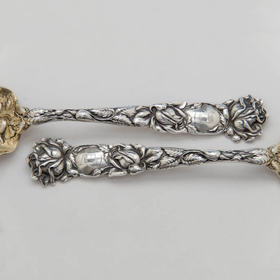 Handle to Alvin Antique Sterling Silver 'Bridal Rose' Pattern Salad Servers, Providence, RI, c. 1905