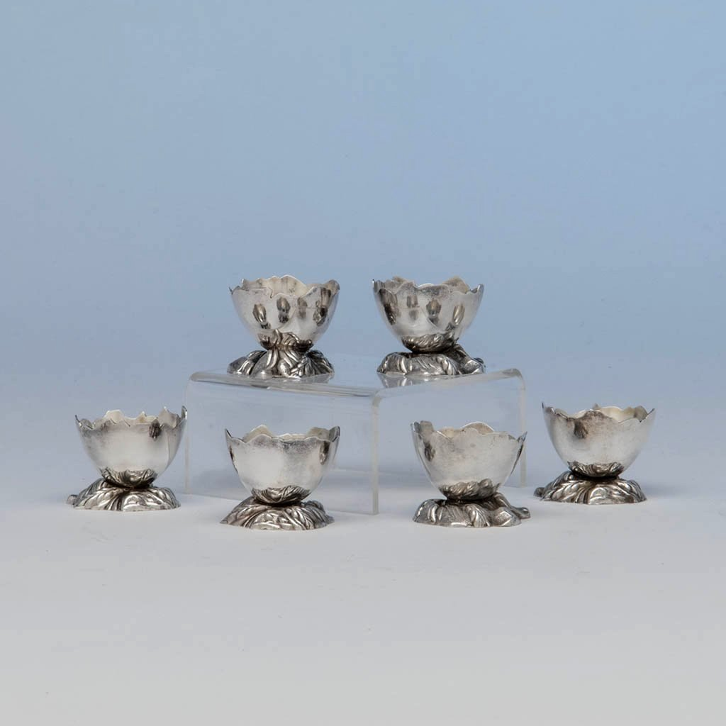 Gorham Antique Sterling Silver Cracked Egg Salt Dishes, set of 6, Providence, RI - 1872