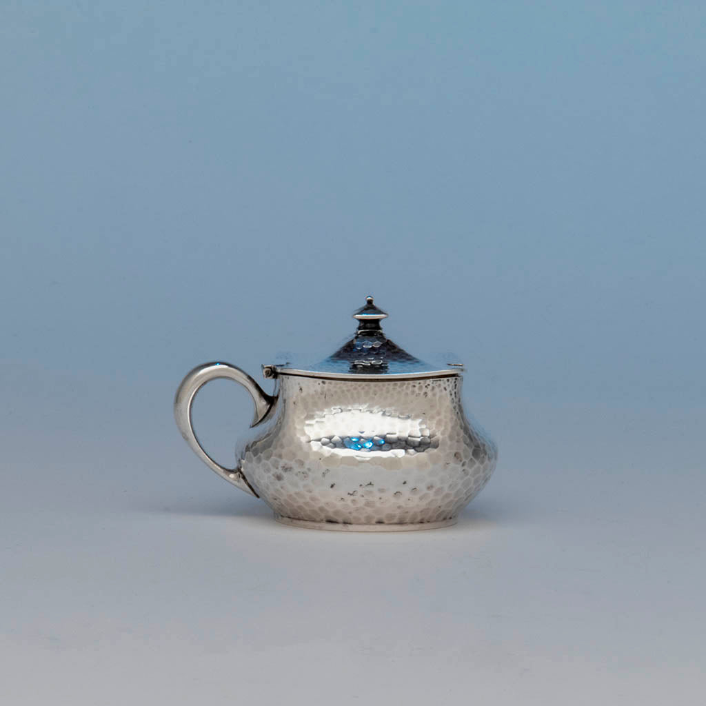 Dominick & Haff Antique Sterling Silver Covered Mustard Pot, NYC, 1883