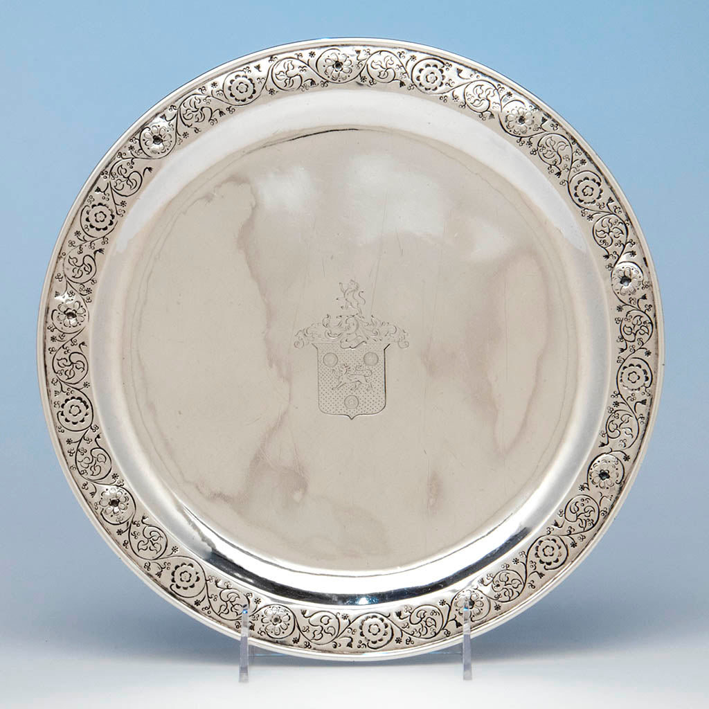 Mary Catherine Knight (attributed) at the Handicraft Shop Hand Wrought Arts & Crafts Sterling Silver Serving Plate, Wellesley Hills, 1905
