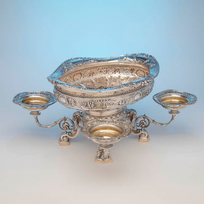 Top view of Gorham Rare 'Sample' Massive Antique Sterling Silver 'Louis XVI' Centerpiece, Providence, RI, c. 1910