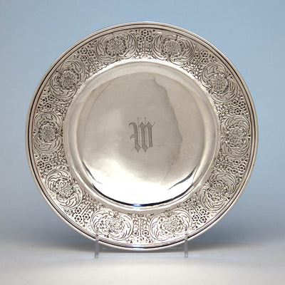 Mary Catherine Knight (attributed) and Karl Leinonen at the Handicraft Shop Hand Wrought Arts & Crafts Sterling Silver Serving Plate, Boston or Wellesley Hills, 1907