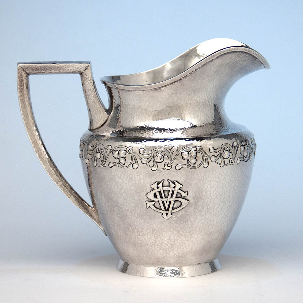 Marshall Field & Company 'Colonial' Sterling Silver Arts & Crafts Water Pitcher, Chicago, 1907-c. 1925