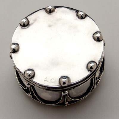 Signature on Elizabeth Copeland Rare Sterling Silver & Enamel Covered Jewelry Box, Boston, c. 1920