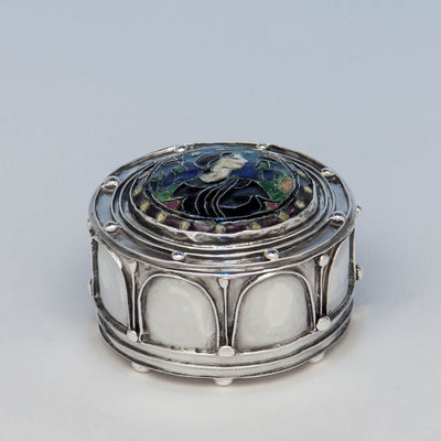 Side of Elizabeth Copeland Rare Sterling Silver & Enamel Covered Jewelry Box, Boston, c. 1920