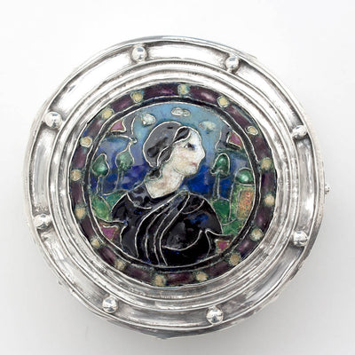 Elizabeth Copeland Rare Sterling Silver & Enamel Covered Jewelry Box, Boston, c. 1920