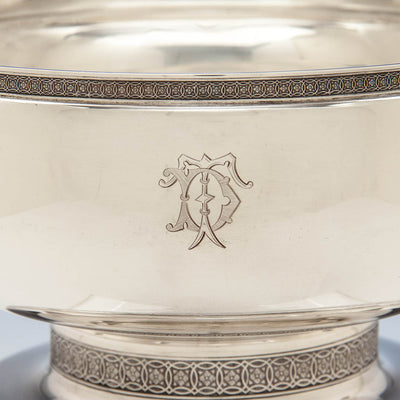 Monogram on Tiffany & Co Antique Sterling Silver Figural Ice Bowl, New York City, c. 1870-75