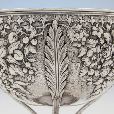 Leaf decoration on S. Kirk & Sons Rare 11oz Silver Fruit Stand or Centerpiece Bowl, Baltimore, MD, 1860-68