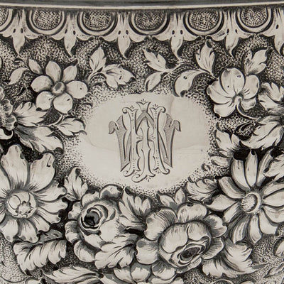 Monogram on S. Kirk & Sons Rare 11oz Silver Fruit Stand or Centerpiece Bowl, Baltimore, MD, 1860-68