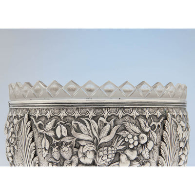 Glass rim to S. Kirk & Sons Rare 11oz Silver Fruit Stand or Centerpiece Bowl, Baltimore, MD, 1860-68