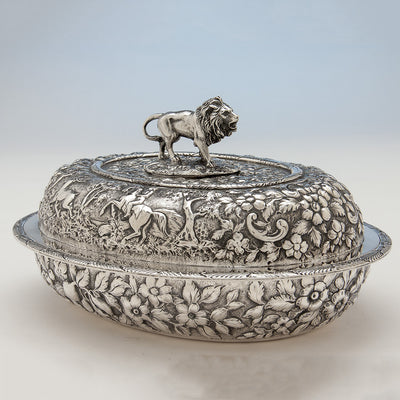 Side of S. Kirk & Sons Rare Pair of 11oz Silver Covered 'Double-dish' Entrée Servers, Baltimore, MD, 1861-68