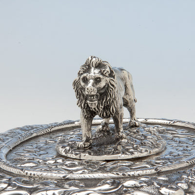 Lion on S. Kirk & Sons Rare Pair of 11oz Silver Covered 'Double-dish' Entrée Servers, Baltimore, MD, 1861-68