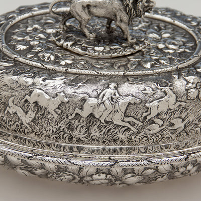 Repousse detail on S. Kirk & Sons Rare Pair of 11oz Silver Covered 'Double-dish' Entrée Servers, Baltimore, MD, 1861-68