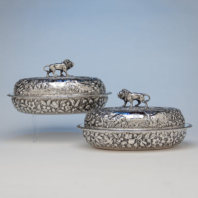 S. Kirk & Sons Rare Pair of 11oz Silver Covered 'Double-dish' Entrée Servers, Baltimore, MD, 1861-68