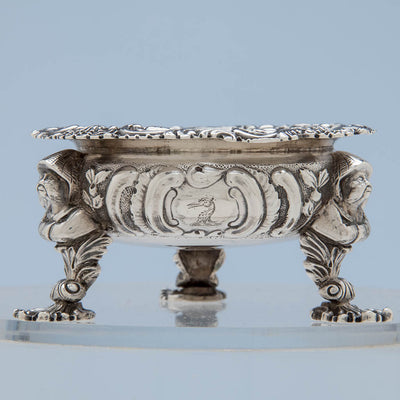 Crest on Rebecca Emes & Edward Barnard George III Chinoiserie Sterling Silver Master Salts, London, 1818/19 - Set of 4