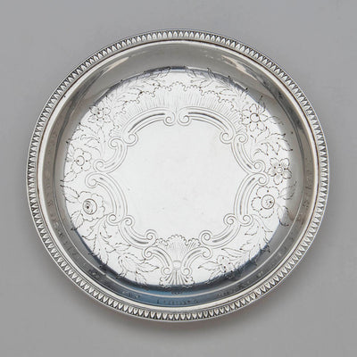 Engraving on Marquand & Co Antique Coin Silver Dish, New York City, NY, 1833-39
