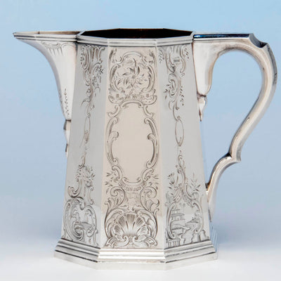 Reverse side of the Lows, Ball and Company, likely by Obadiah Rich, Antique Coin Silver Pitcher, Boston, MA, 1840-46