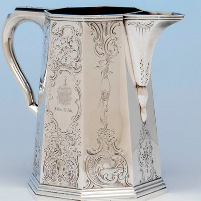 Spout of the Lows, Ball and Company, likely by Obadiah Rich, Antique Coin Silver Pitcher, Boston, MA, 1840-46