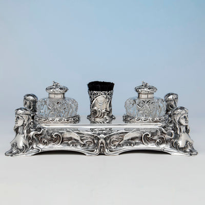Whiting 'Diamond Jim Brady' Sterling Art Nouveau Desk Set, NYC, c. 1900