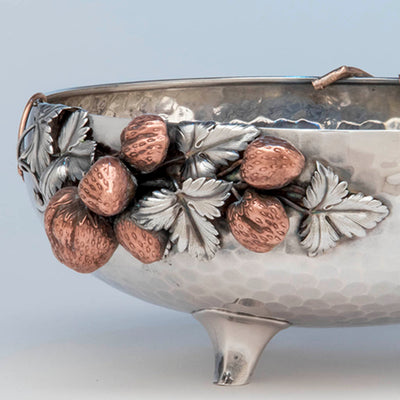 Strawberries on Gorham Antique Sterling Silver and Other Metals Aesthetic Movement Mixed Metals Fruit Bowl, 1881