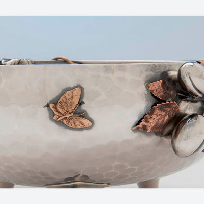 Butterfly on Gorham Antique Sterling Silver and Other Metals Aesthetic Movement Mixed Metals Fruit Bowl, 1881