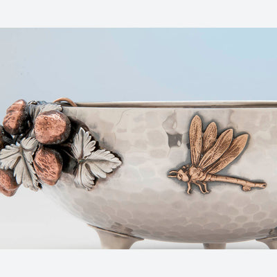 Dragonfly on Gorham Antique Sterling Silver and Other Metals Aesthetic Movement Mixed Metals Fruit Bowl, 1881