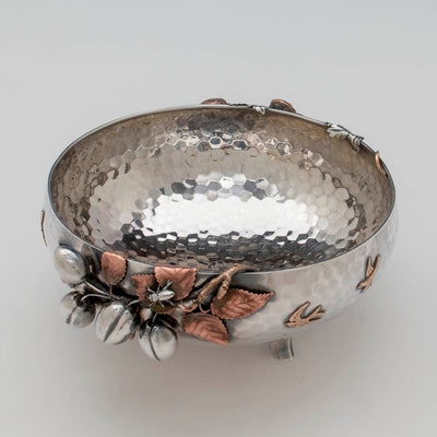Interior of Gorham Antique Sterling Silver and Other Metals Aesthetic Movement Mixed Metals Fruit Bowl, 1881