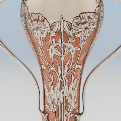 Side of Tiffany & Co Antique Sterling Silver and Copper Vase, NYC, NY, 1903