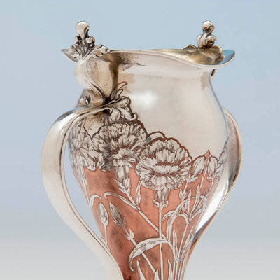 Detail of Tiffany & Co Antique Sterling Silver and Copper Vase, NYC, NY, 1903