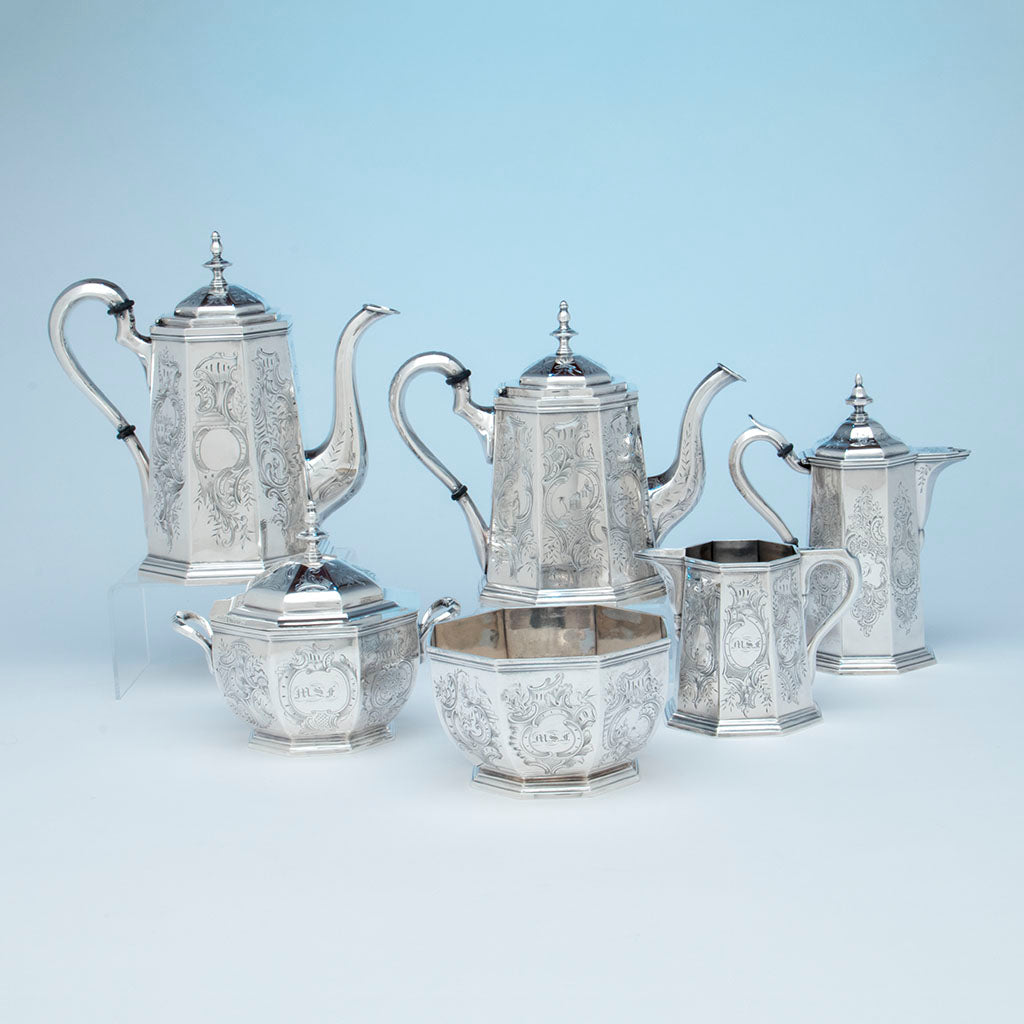 Rich, Obadiah (attr.) 6-piece Antique Coin Silver Coffee and Tea Service, retailed by Lows, Ball & Company, Boston, c. 1840's